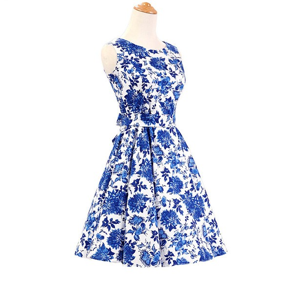 50s 60s Vintage Rockabilly Swing Picnic Party Beauty Ball Dress Floral CF1008 Blue Floral_01