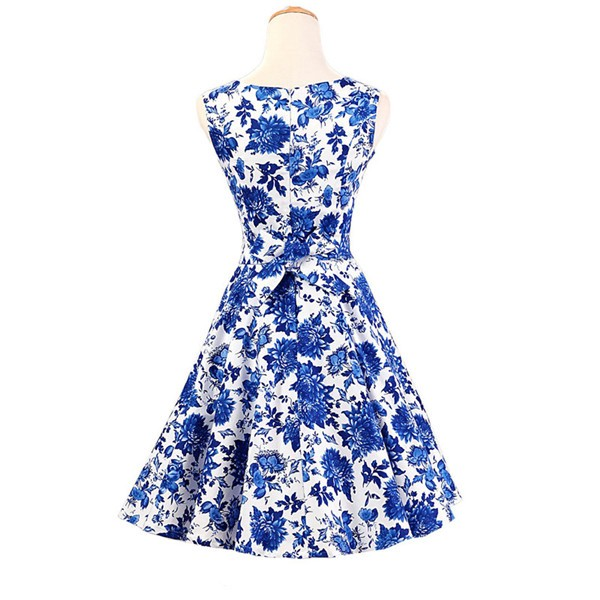 50s 60s Vintage Rockabilly Swing Picnic Party Beauty Ball Dress Floral CF1008 Blue Floral_02