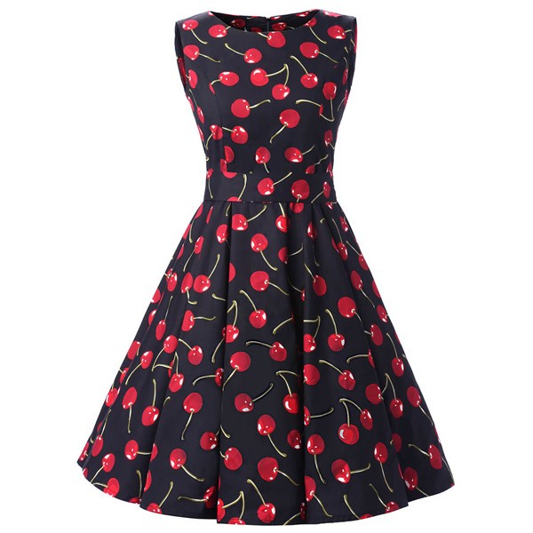 50s 60s Vintage Rockabilly Swing Picnic Party Beauty Ball Dress Floral CF1008 Cherry_01