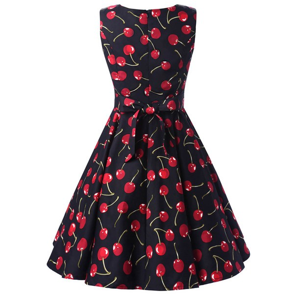 50s 60s Vintage Rockabilly Swing Picnic Party Beauty Ball Dress Floral CF1008 Cherry