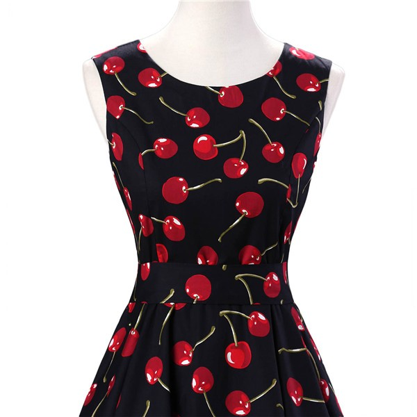 50s 60s Vintage Rockabilly Swing Picnic Party Beauty Ball Dress Floral CF1008 Cherry_02