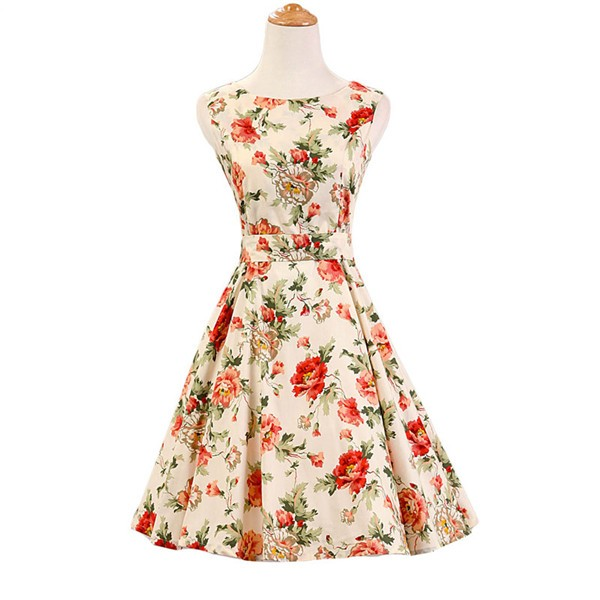 50s 60s Vintage Rockabilly Swing Picnic Party Beauty Ball Dress Floral CF1008 Cream Floral