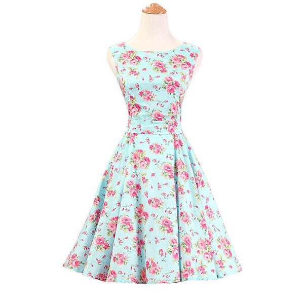 50s 60s Vintage Rockabilly Swing Picnic Party Beauty Ball Dress Floral CF1008 Green Floral