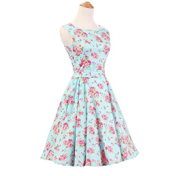 50s 60s Vintage Rockabilly Swing Picnic Party Beauty Ball Dress Floral CF1008 Green Floral_01