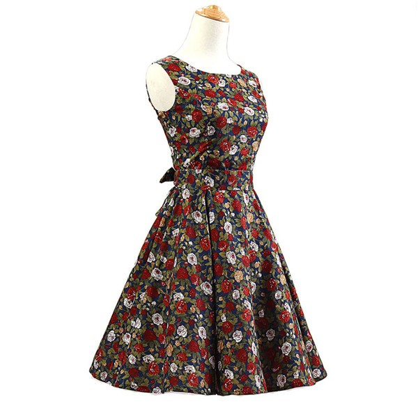 50s 60s Vintage Rockabilly Swing Picnic Party Beauty Ball Dress Floral CF1008 Red Black Floral_01
