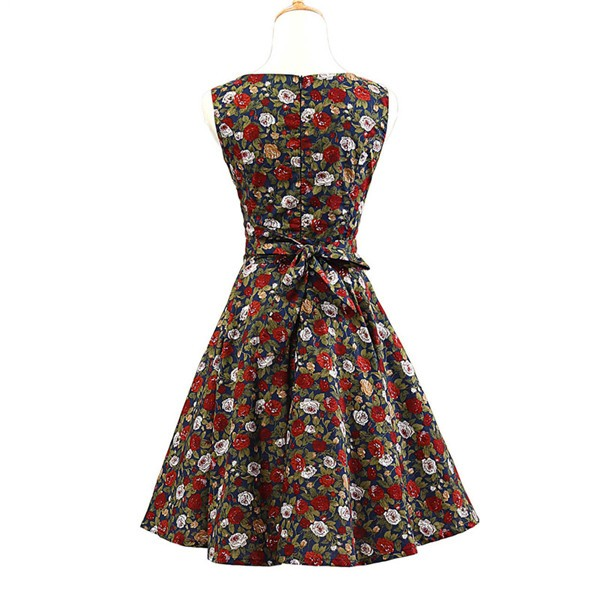 50s 60s Vintage Rockabilly Swing Picnic Party Beauty Ball Dress Floral CF1008 Red Black Floral_02