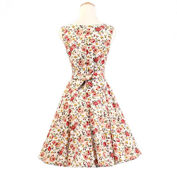 50s 60s Vintage Rockabilly Swing Picnic Party Beauty Ball Dress Floral CF1008 Red White Floral_02