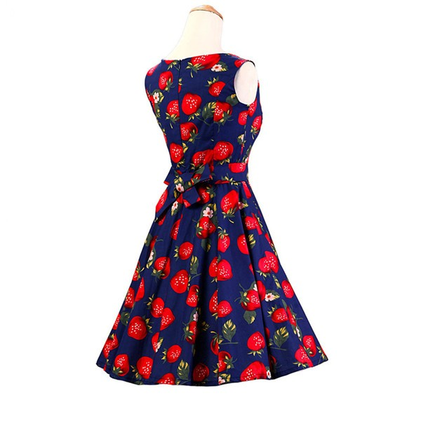 50s 60s Vintage Rockabilly Swing Picnic Party Beauty Ball Dress Floral CF1008 Strawberry_02