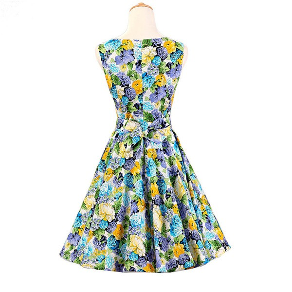 50s 60s Vintage Rockabilly Swing Picnic Party Beauty Ball Dress Floral CF1008 Yellow Floral_02
