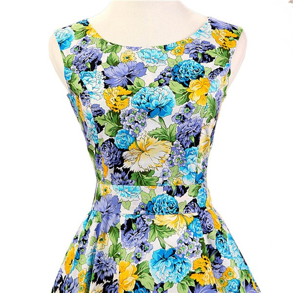 50s 60s Vintage Rockabilly Swing Picnic Party Beauty Ball Dress Floral CF1008 Yellow Floral_03