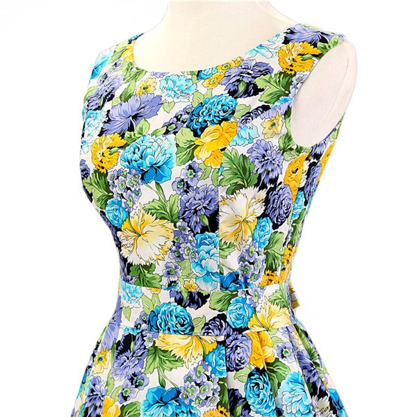 50s 60s Vintage Rockabilly Swing Picnic Party Beauty Ball Dress Floral CF1008 Yellow Floral_04