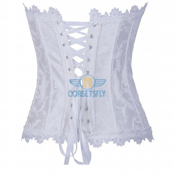 Lace Trim on Top Bottom Jacquard Weave Embroidered Overbust Corset CF7084 White_01
