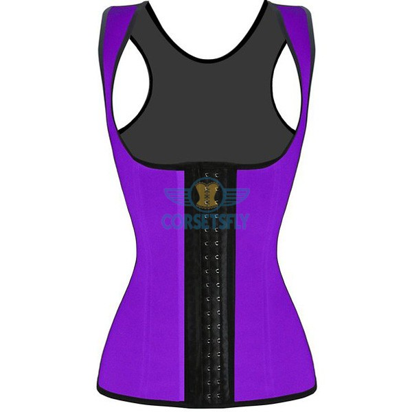 3 Hook Workout Faja Shapeware Latex Rubber Waist Training Bustier Corset CF9022 Purple