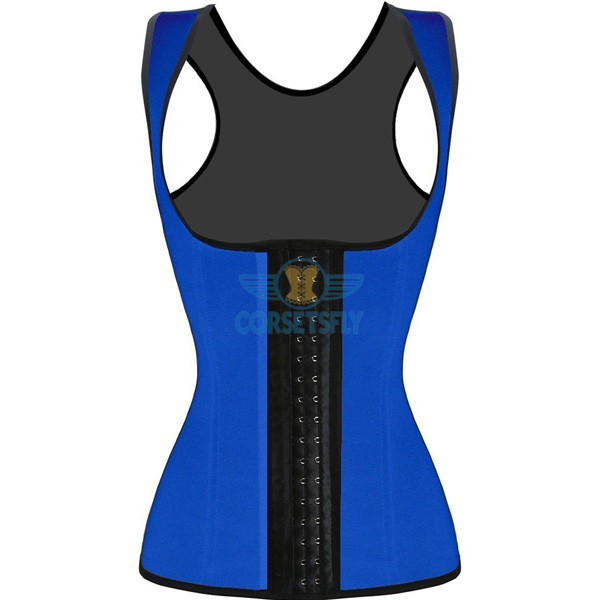 3 Hook Workout Faja Shapeware Latex Rubber Waist Training Bustier Corset CF9022 Blue