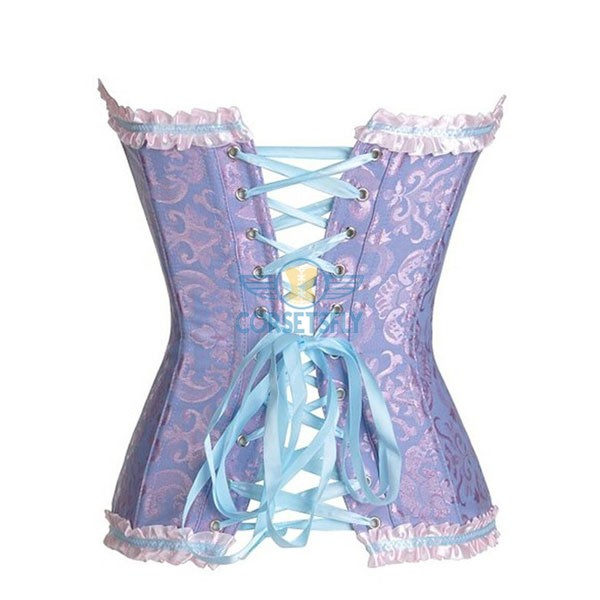 Womens Fashion Satin Classic Sweetheart Basque Lace Up Overbust Corset CF7042 Purple_01