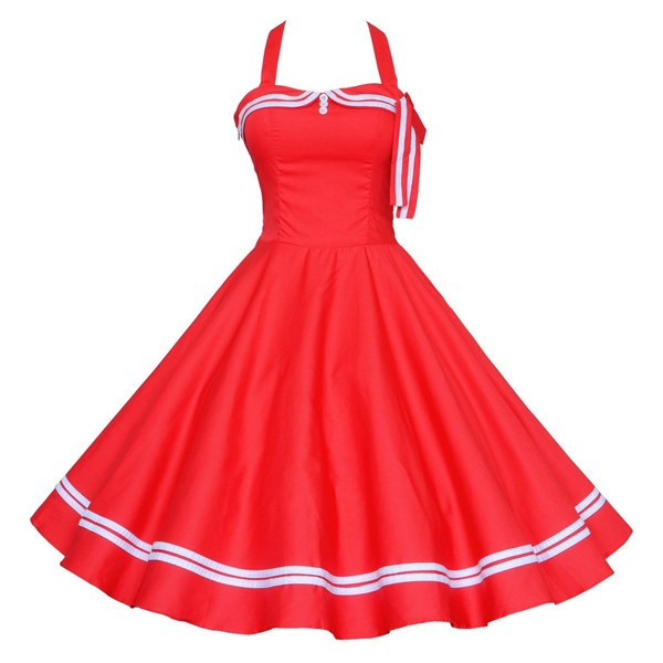 Chic Halter Pinup Sweetheart Neckline Vintage Striped Rockabilly Swing Dress CF1282 Red_01