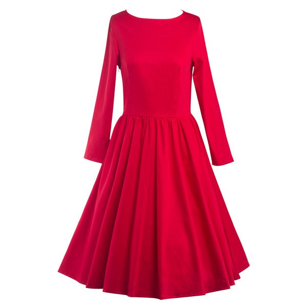 Classic Retro Round Neckline Vintage Long Sleeve Rockabilly Swing Dress CF1284 Red_01