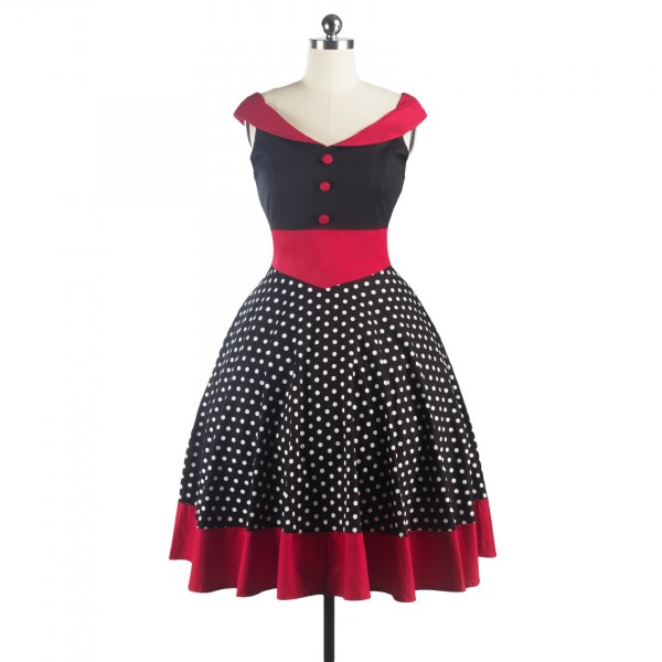 A-line Rockabilly Swing 1950s V-Neck Sleeveless Vintage Evening Party Dress CF1241_04