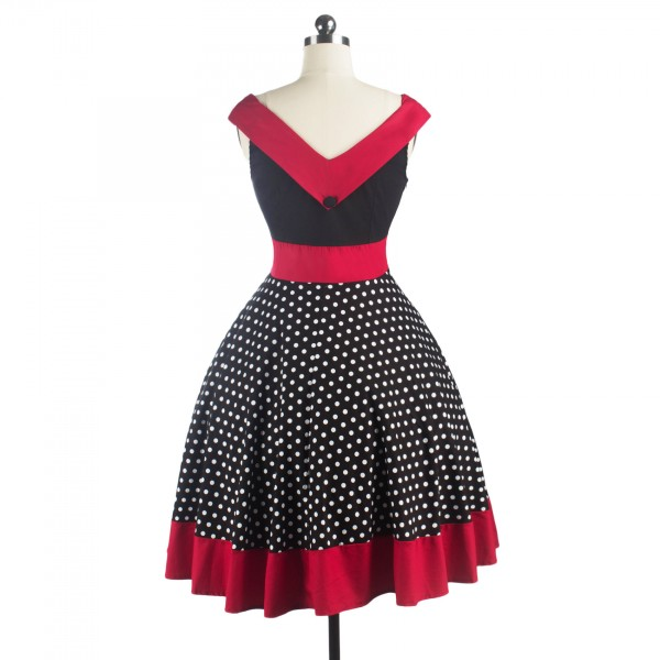 A-line Rockabilly Swing 1950s V-Neck Sleeveless Vintage Evening Party Dress CF1241_02