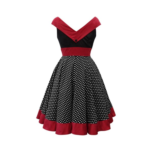 A-line Rockabilly Swing 1950s V-Neck Sleeveless Vintage Evening Party Dress CF1241_07