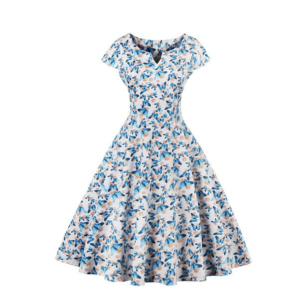 Women's Pinup Vintage Cap Sleeve Cocktail Party Rockabilly Swing Dress CF1446 Blue_01
