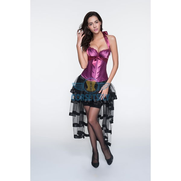 Adjustable Halter Neck Overbust Corsets With Pleated Trim Tulle Skirt CF6806 Burgundy_02