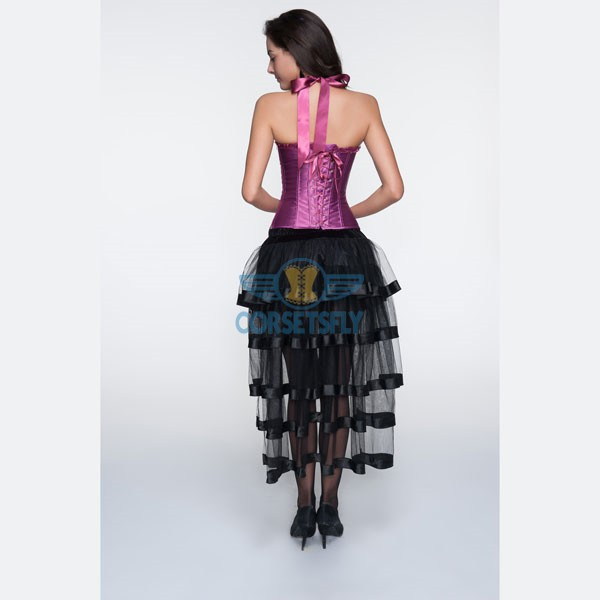 Adjustable Halter Neck Overbust Corsets With Pleated Trim Tulle Skirt CF6806 Burgundy_03