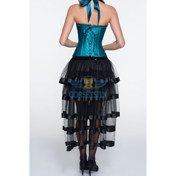 Adjustable Halter Neck Overbust Corsets With Pleated Trim Tulle Skirt CF6806 Green_03