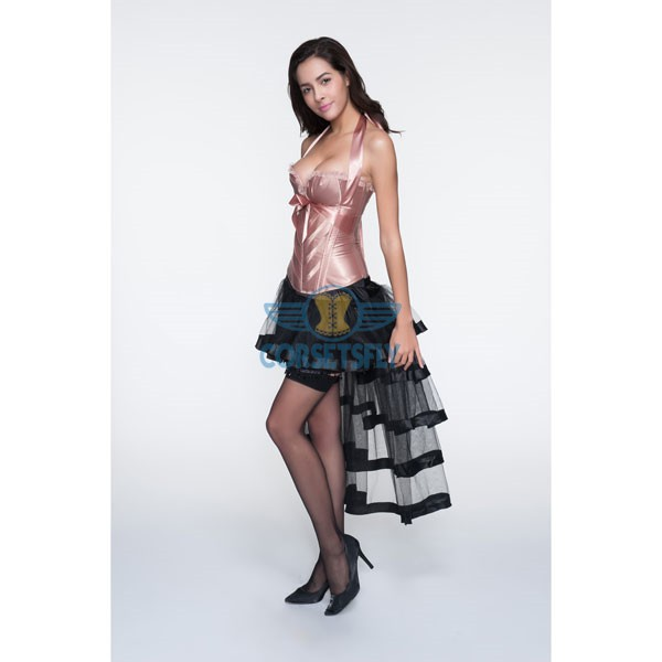 Adjustable Halter Neck Overbust Corsets With Pleated Trim Tulle Skirt CF6806 Pink_01