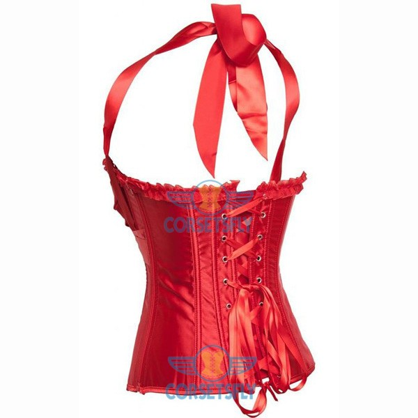 Adjustable Halter Neck Satin Plastic Boned Classic Overbust Bustier Corsets Red_01