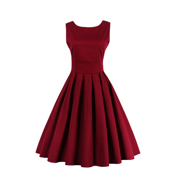Audrey Hepburn Boat Neckline Vintage Sleeveless Rockabilly Burgundy Swing Dress CF1447 Burgundy_01