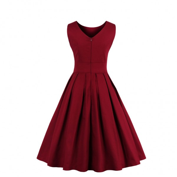 Audrey Hepburn Boat Neckline Vintage Sleeveless Rockabilly Burgundy Swing Dress CF1447 Burgundy_02