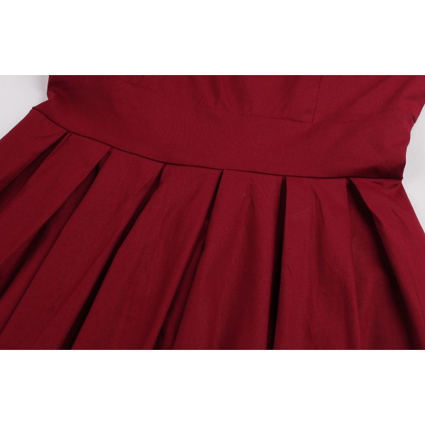 Audrey Hepburn Boat Neckline Vintage Sleeveless Rockabilly Burgundy Swing Dress CF1447 Burgundy_05