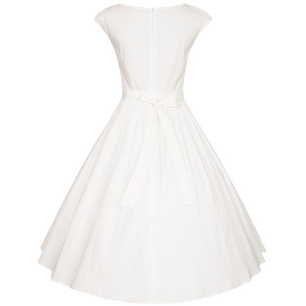 Audrey Hepburn Pinup Vintage Rockabilly Classy Swing Cap-sleeve Dress CF1503 White_02