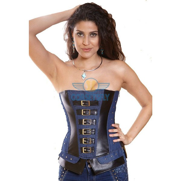 Authentic Black Retro Leather Denim Zipper Side Steel Boned Corset CF5306_03