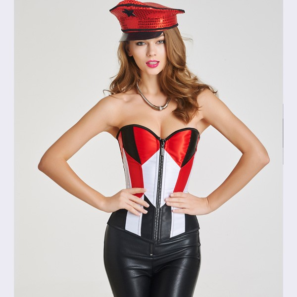 Beauty Strapless Front Zipper Overbust Corsets With Lace Up Back CF6026 red