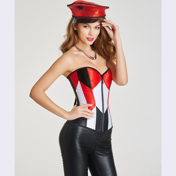 Beauty Strapless Front Zipper Overbust Corsets With Lace Up Back CF6026 red_01