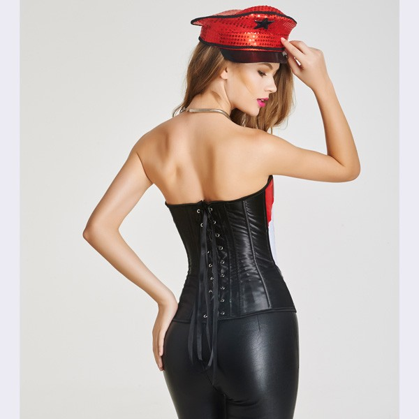 Beauty Strapless Front Zipper Overbust Corsets With Lace Up Back CF6026 red_02