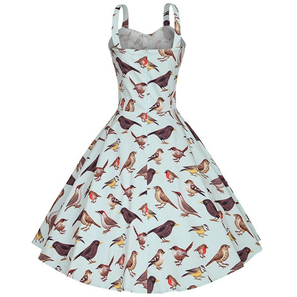 Bird Pattern Printed Classy Rockabilly Swing Evening Party Dress CF1509 LightBlue_02
