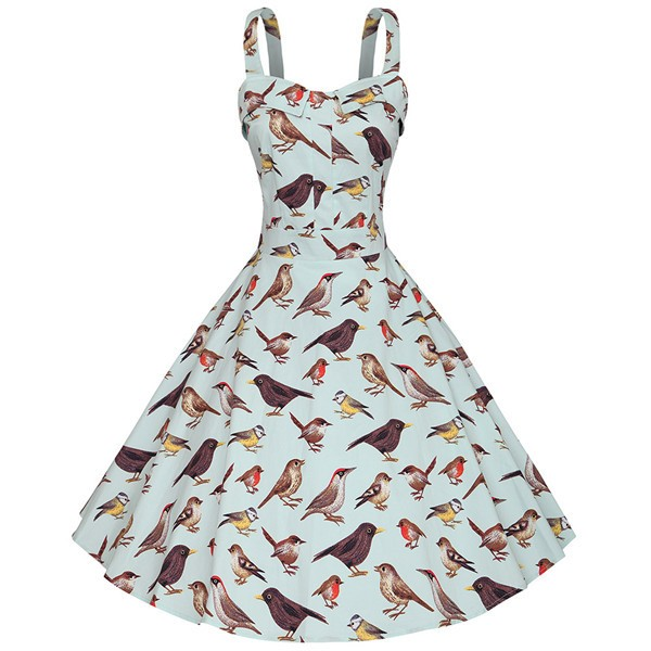 Bird Pattern Printed Classy Rockabilly Swing Evening Party Dress CF1509 LightBlue_01