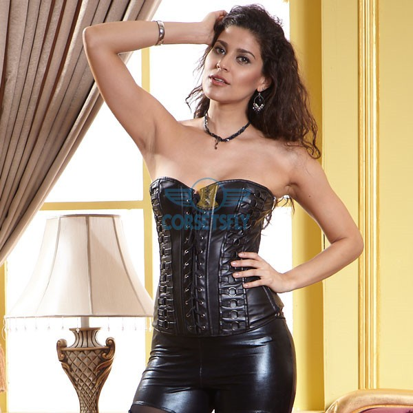 Black Faux Leather Lace Up Front Vintage Steampunk Overbust Corset CF5321_02
