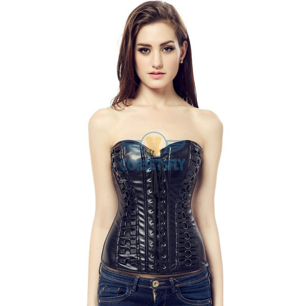 Black Faux Leather Lace Up Front Vintage Steampunk Overbust Corset CF5321_03