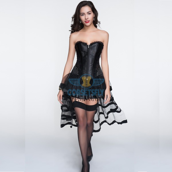 Black Hip Gauge Ruffle Trim Corset With Layered Tulle Skirt CF6803_01