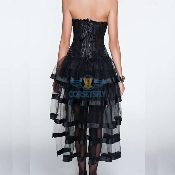 Black Hip Gauge Ruffle Trim Corset With Layered Tulle Skirt CF6803_02