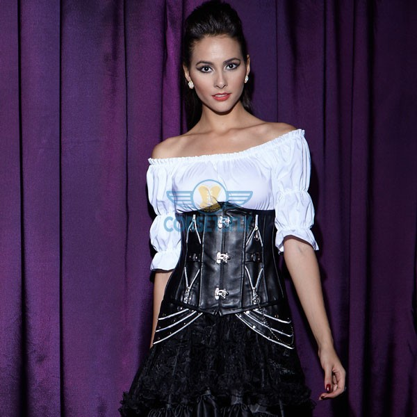 Black Leather Addition Of Chains Side Military Inspired Steampunk Corset CF5316_01