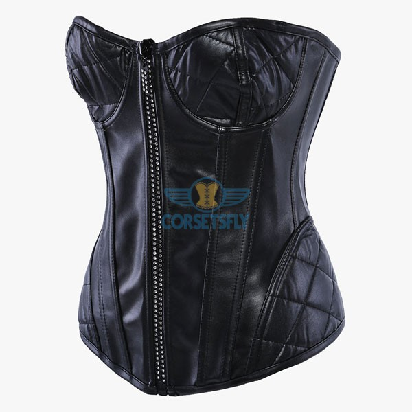Black PU Leather with Quilted Bust Cups and Hip Panels Corset CF5304_01