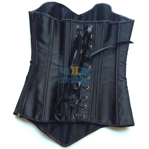 Black Silver Floral Lace with Criss Cross Front Panel Corset CF5045 Black_03