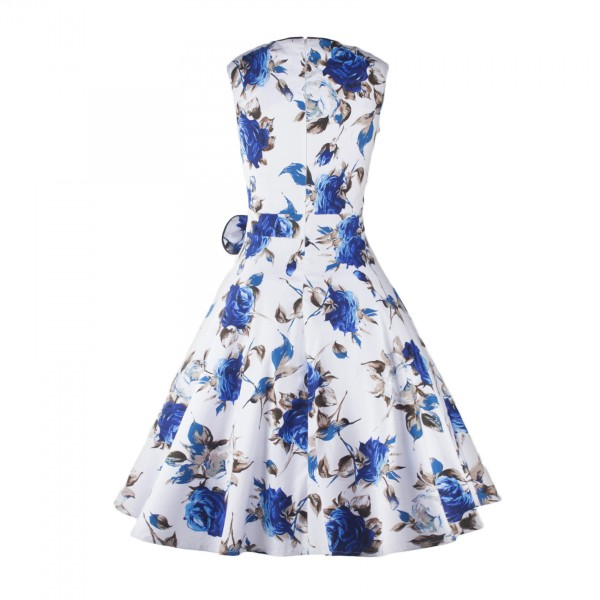 Blue Floral Print Rockabilly Vintage Bowknot Sleeveless White Swing Dress CF1253_09