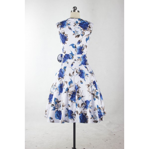 Blue Floral Print Rockabilly Vintage Bowknot Sleeveless White Swing Dress CF1253_03