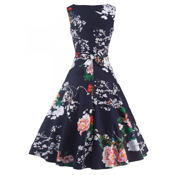 Boatneck Floral Print Rockabilly Vintage Sleeveless Evening Party Swing Dress CF1256 Navy_02